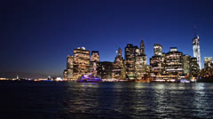 Manhattan at night from Brooklyn Stock Footage