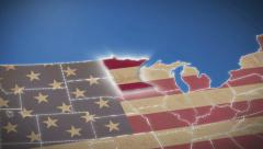 Stock Video Footage of USA map, Minnesota pull out, all states available. Blue background