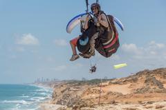 Para-gliding flight. - stock photo