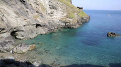 View from Tintagel Castle North Cornwall coast Stock Footage