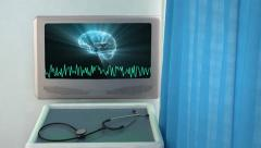 Brain with wave medical screen closeup Stock Footage