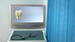 tooth step be white medical screen closeup - stock footage