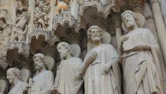 Notre Dame Cathedral 7  -  Sculptures - Paris, France Stock Footage