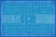 buckle on strap - Blue Print - stock illustration