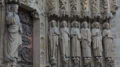 Notre Dame Cathedral 9  -  Sculptures - Paris, France Stock Footage