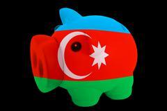 Piggy rich bank in colors national flag of azerbaijan   for saving money Stock Photos