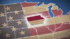 USA map, Iowa pull out, all states available. Blue background - stock footage