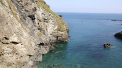 Tintagel beach and bay North Cornwall coast Stock Footage