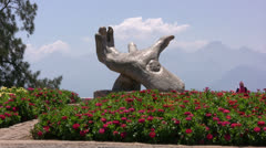 Large sculpture in a public park in Antalya Stock Footage