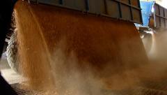 Farmer unloading wheat in a silo, slow motion Stock Footage