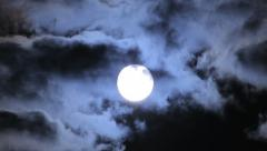 Shine moon with clouds passing Stock Footage