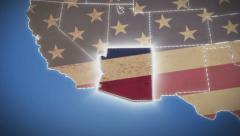 USA map, Arizona pull out, all states available, click for HD Stock Footage