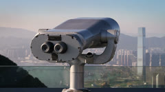 192 coin operated binoculars over Hong Kong Stock Footage
