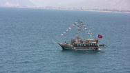 Stock Video Footage of Passenger boat with flag decorations in Antalya
