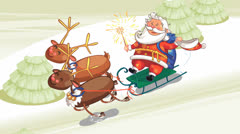 Santa riding in sleigh background Stock Footage