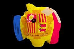 Bankrupt piggy rich bank in colors of national flag of andorra    closed with Stock Photos