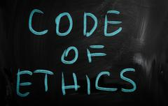 """code of ethics"" handwritten with white chalk on a blackboard Stock Illustration"