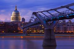 St. Paul's Cathedral and the Millennium Bridge Stock Photos