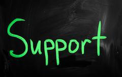 """support"" handwritten with white chalk on a blackboard Stock Illustration"