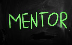 """mentor"" handwritten with white chalk on a blackboard - stock illustration"