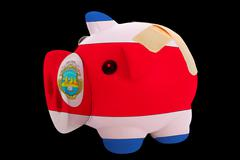 bankrupt piggy rich bank in colors of national flag of costarica    closed wi - stock photo