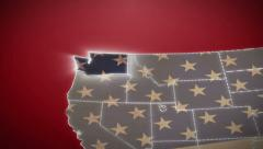 USA map, Washington pull out, all states available. Red background - stock footage