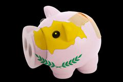 Bankrupt piggy rich bank in colors of national flag of cyprus    closed with  Stock Photos