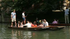 People punting on river cam cambridge, england Stock Footage
