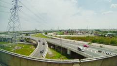 Commuter highway. view from the train window Stock Footage