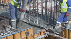 Pouring Concrete civil construction site PAL Stock Footage