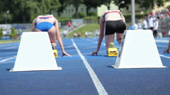 track and field female start - stock footage