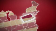 Stock Video Footage of USA map, Pennsylvania pull out, all states available. Red background