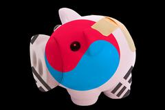 Bankrupt piggy rich bank in colors of national flag of south korea    closed  Stock Photos