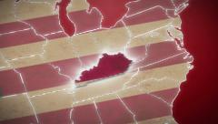 USA map, Kentucky pull out, all states available. Red background - stock footage