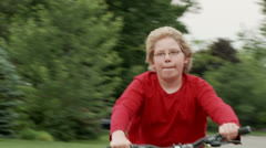 Bike boy on road 30 2 pedalling Stock Footage