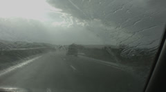 Rain while driving on freeway Stock Footage