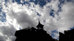 White clouds and blue sky over monastery Stock Footage