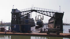 Fishingboat in drydock - wide Stock Footage