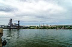 Willamette River and Portland - stock photo