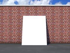 card on brick wall - stock illustration