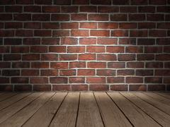 Brick wall wood floor - stock illustration
