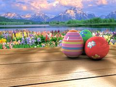 Easter eggs on a table Stock Illustration