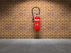 extinguisher on wall - stock illustration