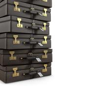 suitcases pile - stock illustration