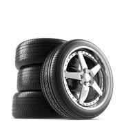 Wheels on white background Stock Illustration