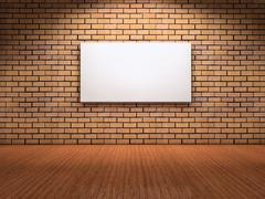 white board on wall - stock illustration