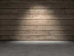 Wood wall concrete floor Stock Illustration