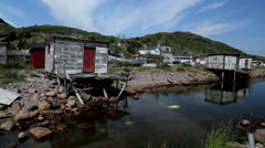 Petty Harbour Dockside Stock Footage