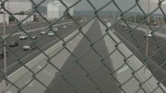 Arroyo with water in between the highway Stock Footage