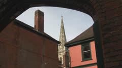 St Mary le Tower Church Through an Arch p214 Stock Footage